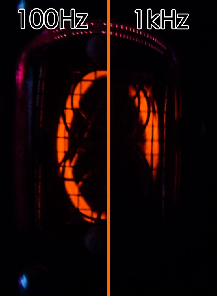 Example of a nixie tube clock display with too little brightness.